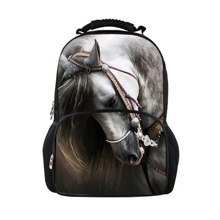 Noisydesigns horse backpacks for teens school bag, school backpack feminine women backpacks for children girls kids back pack