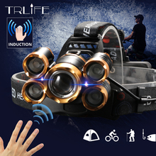 8000LM 센서 LED 전조 등 낚시 헤드 라이트 5LED Lanterna T6 헤드 토치 램프 손전등 방수 캠핑 라이트 2x18650