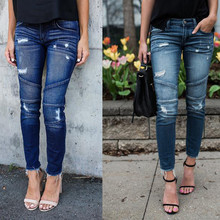 skinny Ripped Jeans Women Pleated Pants Cool Vintage push up Denim jeans Mid Waist Casual Hole boyfriend jeans Slim mom jeans distressed boyfriend hole ripped jeans women pants cool denim vintage straight jeans for girls mid waist slim casual pants e0982