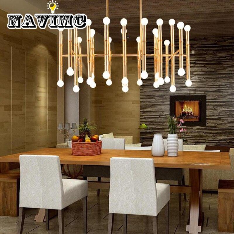 LED 42 ampoules contemporain contracté fer forgé lustre rectangulaire bambou drosort Jonathan Adler Meurice