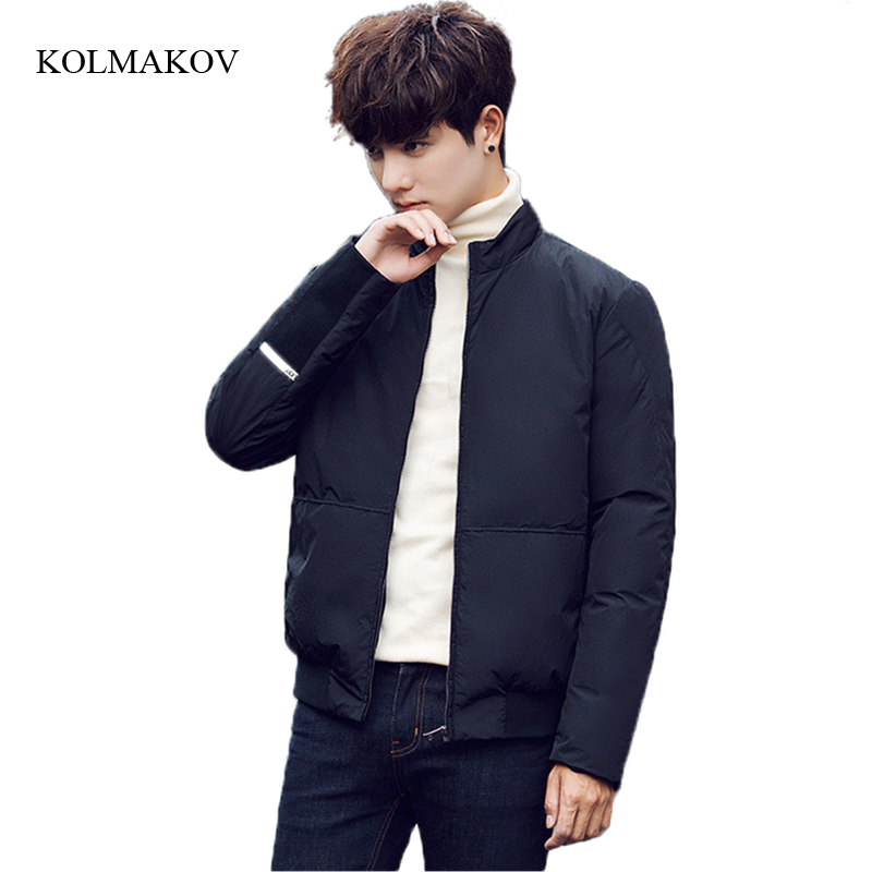 2017 new winter style men fashion down coats high quality solid stand collar dress mens thick white duck down coat size M-3XL