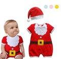 Roupa Do Natal das meninas dos meninos do bebê estilo romper + hat infantil criança roupa do natal Papai Noel presente sleepwear