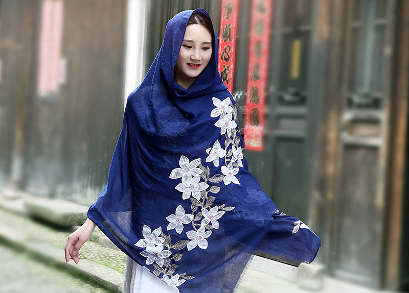 Wholesale Winter Floral Embroidery   Scarf     Wrap   Women Warm Cotton Beach Shawls   Scarves   Hijab   Scarf   From India 10 pcs/lot