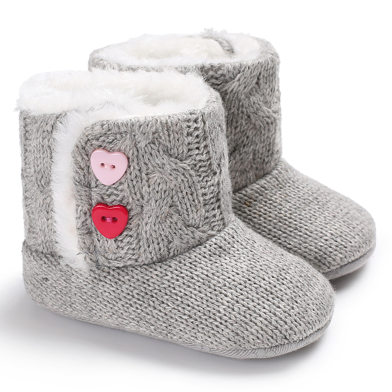 Anti Slip Soft Sole Knitted Baby Boots For Baby Girl