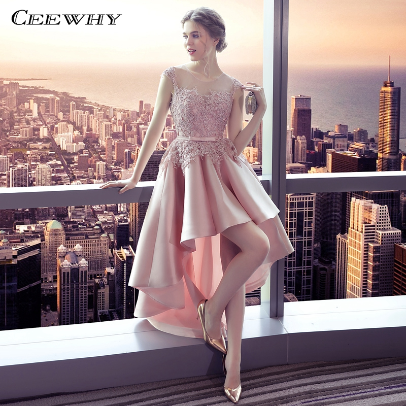 CEEWHY High Low Dresses Pink Gown Lace Satin Dress Elegant Evening Dress 2019 Prom Party Dresses Evening Gown Robe De Soiree