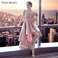 CEEWHY High Low Dresses Pink Gown Lace Satin Dress Elegant Evening Dress 2018 Prom Party Dresses Evening Gown Robe de Soiree