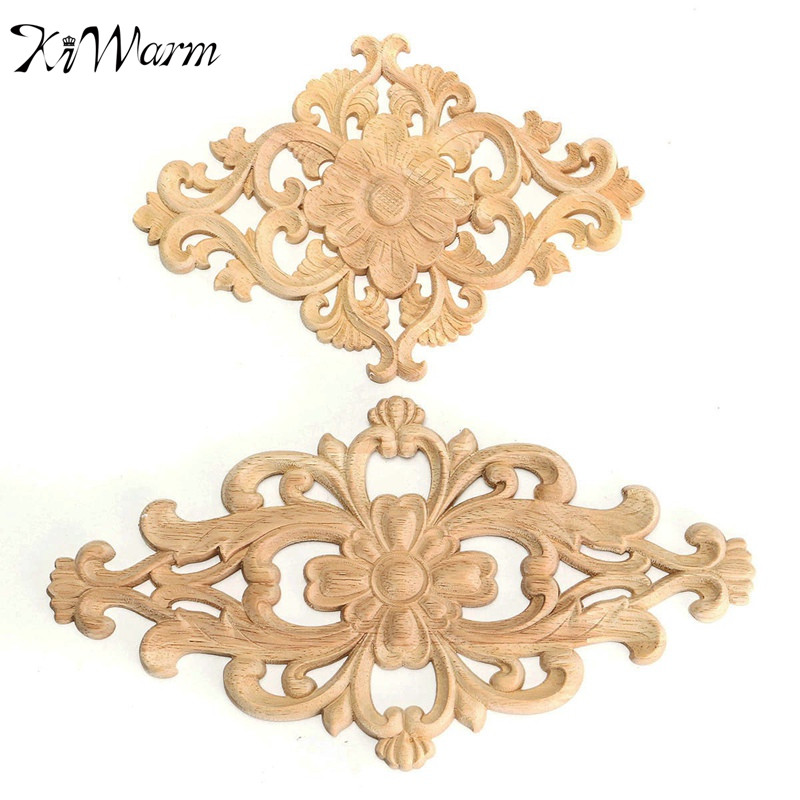 Vintage flower pattern wood carved unpainted wood oak for Applique furniture decoration