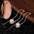 Larga Caja de la Cadena de Oro Rosa Plateado AAA CZ Bola Del Disco de Diamante Gota Cuelgan Threader A Través de Pendientes de La Joyería de La Boda Para Las Mujeres