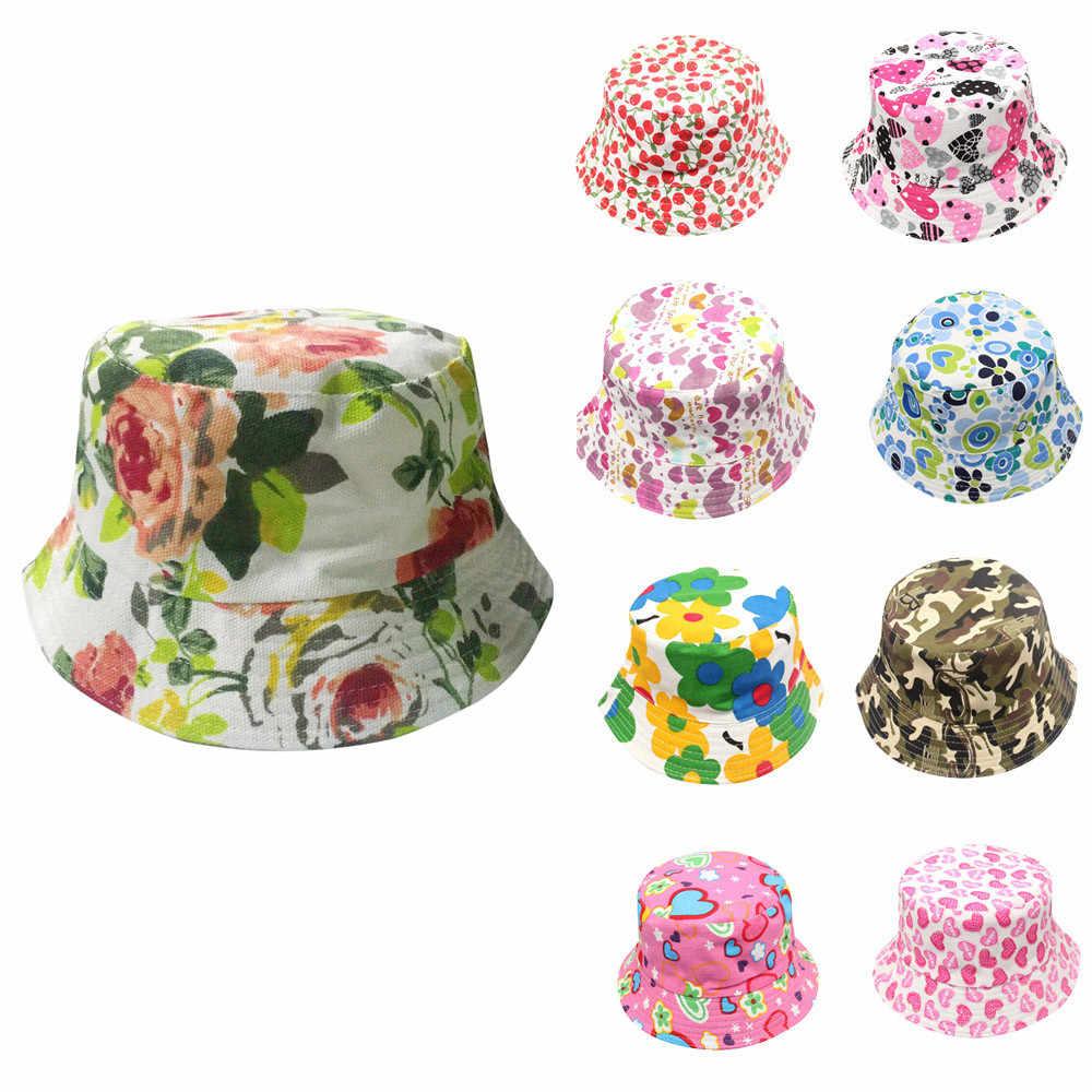 Niños pequeños niños niñas patrón Floral Bucket sombreros casco protector de sol gorra trabajo con cualquier traje flor prepago Cap 1D18
