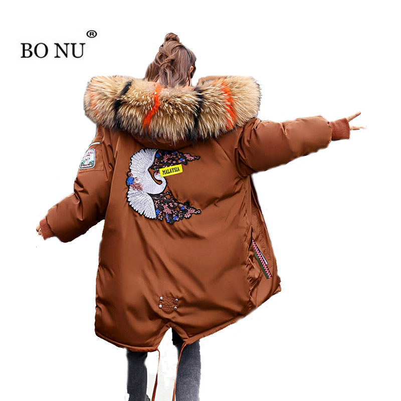 Thick Embroidery Female Jacket Plus Size 3XL Warm Patch Design Coat Winter Long Warm   Parka   Slim Hoodies Fur Down Jacket