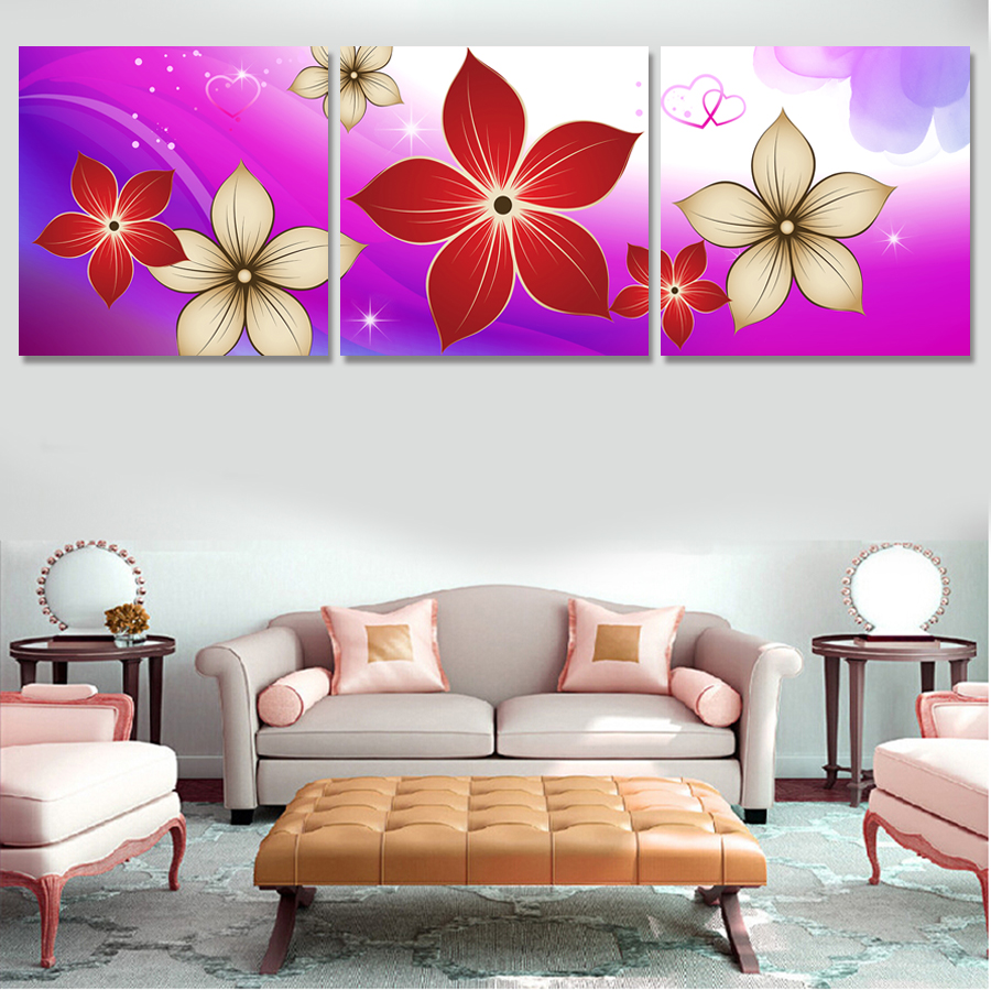 3 Pcs Red Flower Artwork Canvas Painting Wall Art Paintings For Living Room Cuadros Decoracion Prints Photo