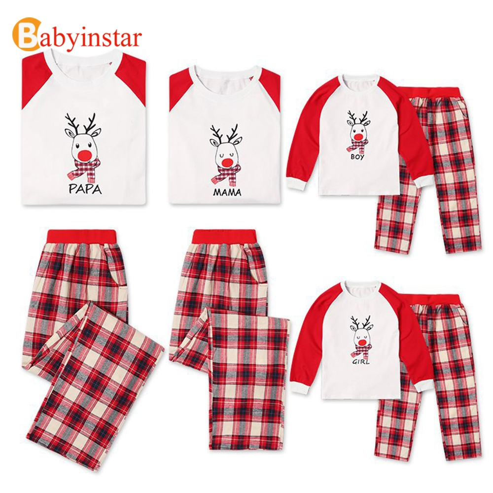 Babyinstar Family Matching Outfits Christmas Pajamas Father Mother Daughter Son Clothes Look Cute Cartoon Deer Pattern Set christmas snowfield deer pattern indoor outdoor area rug