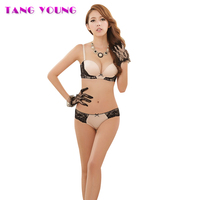 TANG YOUNG Bras And Panties Women Underwire Bra Sets Sexy Push Up Bow Embroidery Bralette Panties