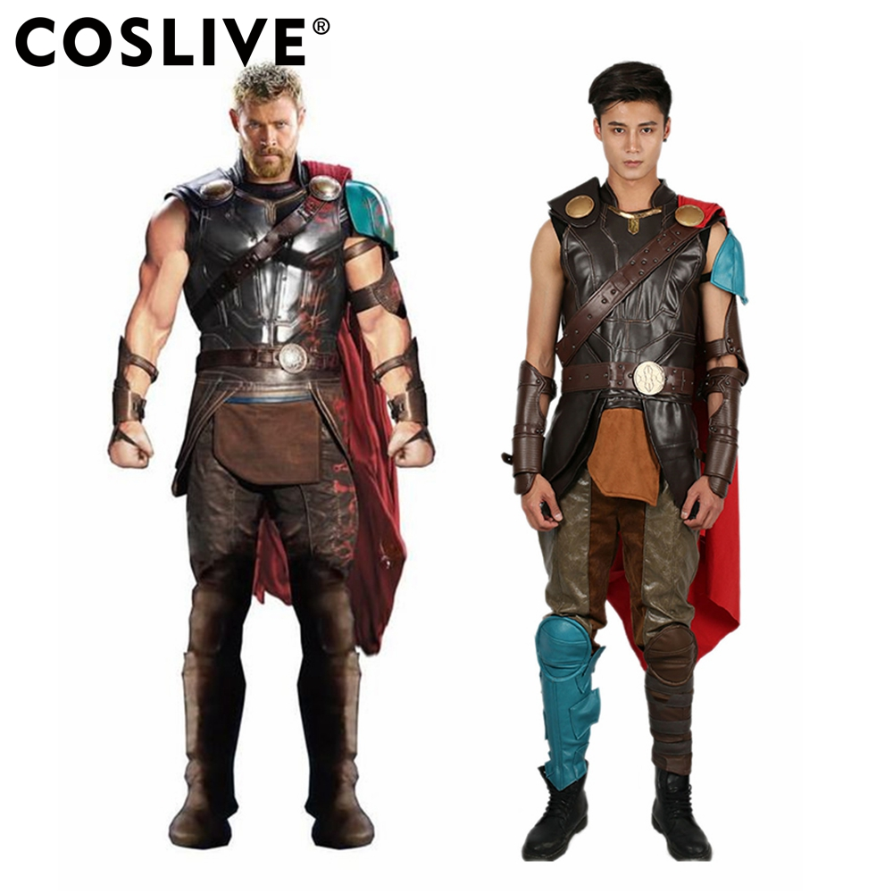 Coslive Thors Costume Deluxe PU Gauntlet Cape Cosplay Outfit Accessory Cos Party Carnival Show For Men Adults