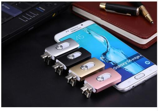 Storage Unit 3 in 1 Micro Otg Newest USB Flash Drive For iphone 7/7plus/6/6s Plus/5s/5/5c/pad external storage pen drive 16-128G