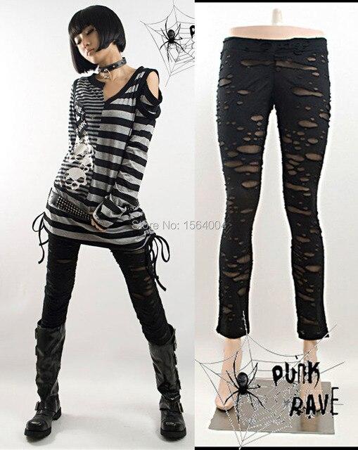 Панк рейв женщин готический эластичный узкие черные гетры разорвал стимпанк S-XXL