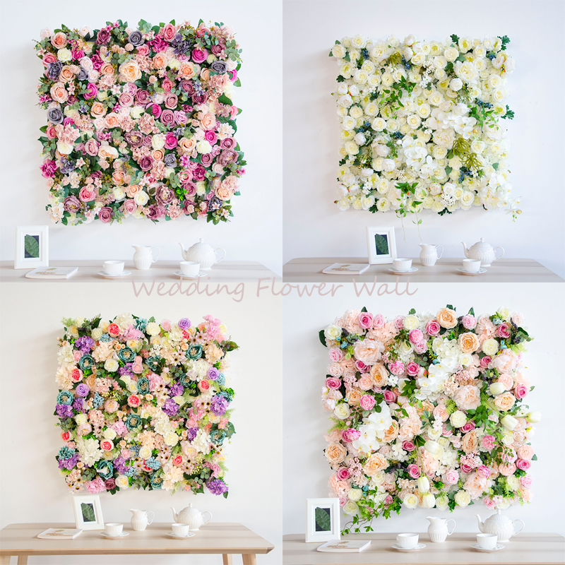 1m 1m artificial flower wedding decoration background wall silk rose Peony hydrangea tulip mix plant simulation