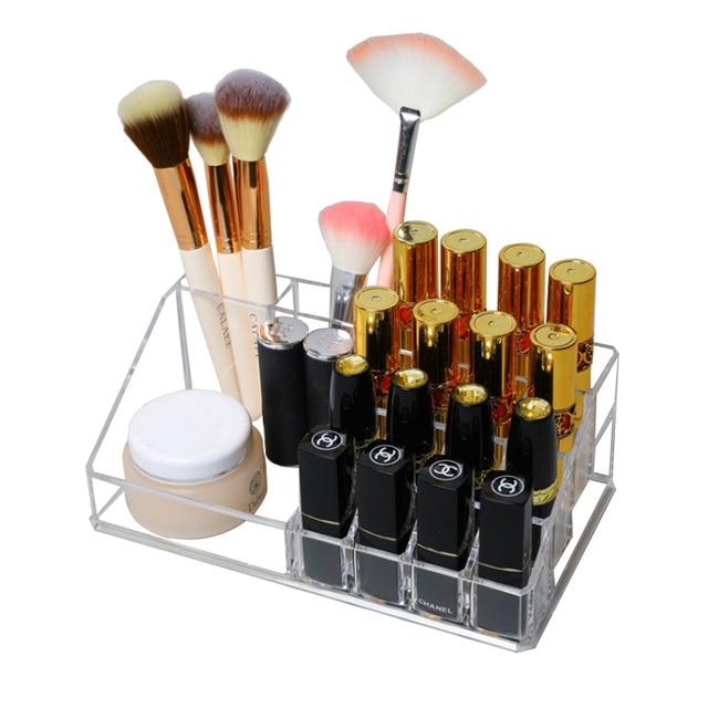 Transparent Dress Table Organizer Makeup Storage Box Lipstick Organizer Cosmetic Brush Holder Rack Storage Box For Cosmetic Shop