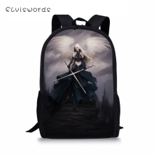 цены ELVISWORDS Fashion Kids Backpack Dark Gothic Angel Pattern Children Book Bags Toddler School Bags Kawaii Animal Travel Backpack
