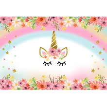 Laeacco Unicorn Flowers Photographic Backdrops Baby Shower Newborn Party Photography Background Customized  For Photo Studio