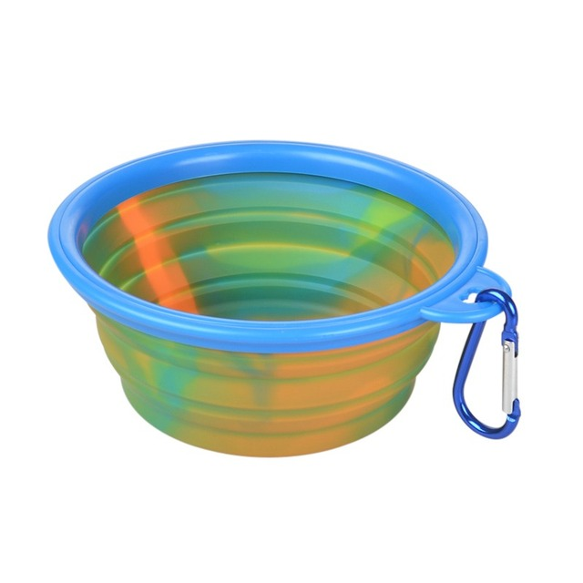 Outdoor Bowls Healthy Pet Product Pet Dog Camouflage Silicone Folding Bowls Portable Food Drinking Water