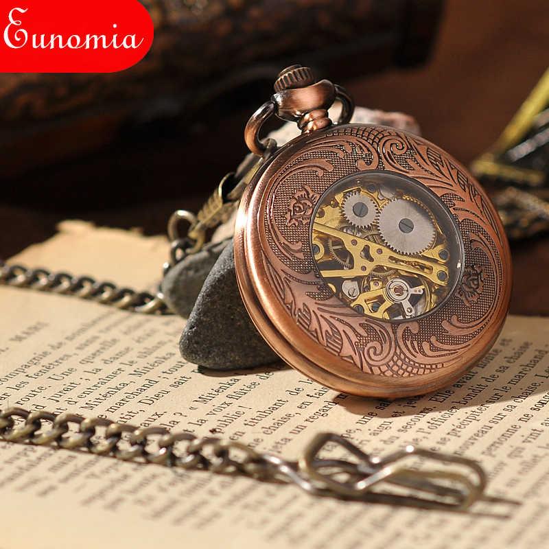 Rose Gold Skeleton Rỗng Túi Cơ Khí Watch Với Chuỗi Key Người Phụ Nữ Sang Trọng Phù Hợp Với Món Quà Số La Mã Steampunk Pocket Watch