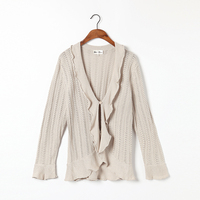 100 Cotton And Sliver Yarn Sweater Women Cardigan Beige Fashion Ruffles Sweaters High Quality Clearance Sale