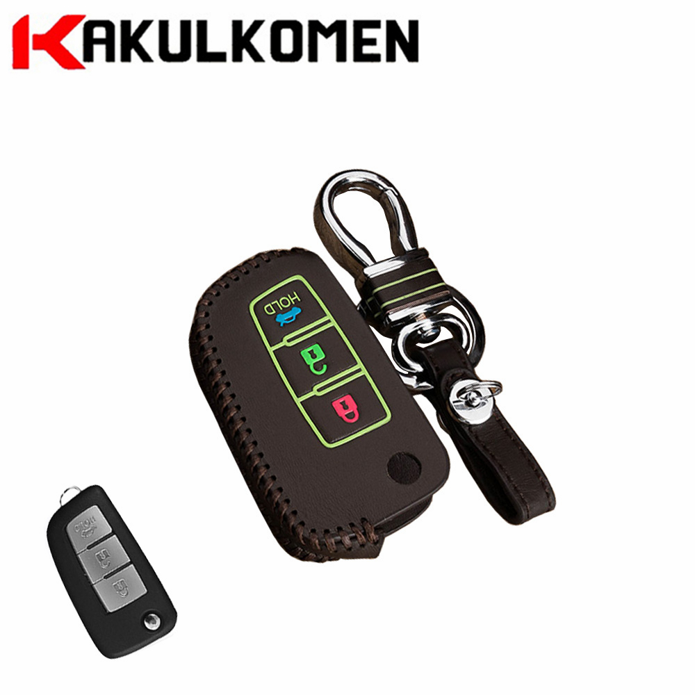 Luminous leather 3Key buttons Folding car key case cover shell for Nissan Qashqai/X-trail/Murano/Maxima/Altima/Juke/Geniss/QUEST