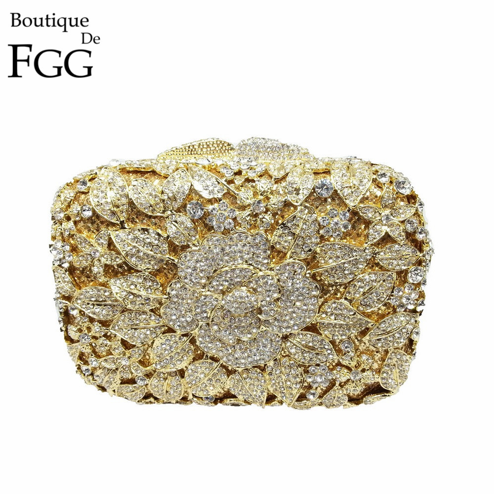 Boutique De FGG Crystal Rhinestone Flower Evening Clutch Purses Wedding Bridal Clutches Women Party Cocktail Minaudiere Handbags rhinestone flower embroidered evening bag