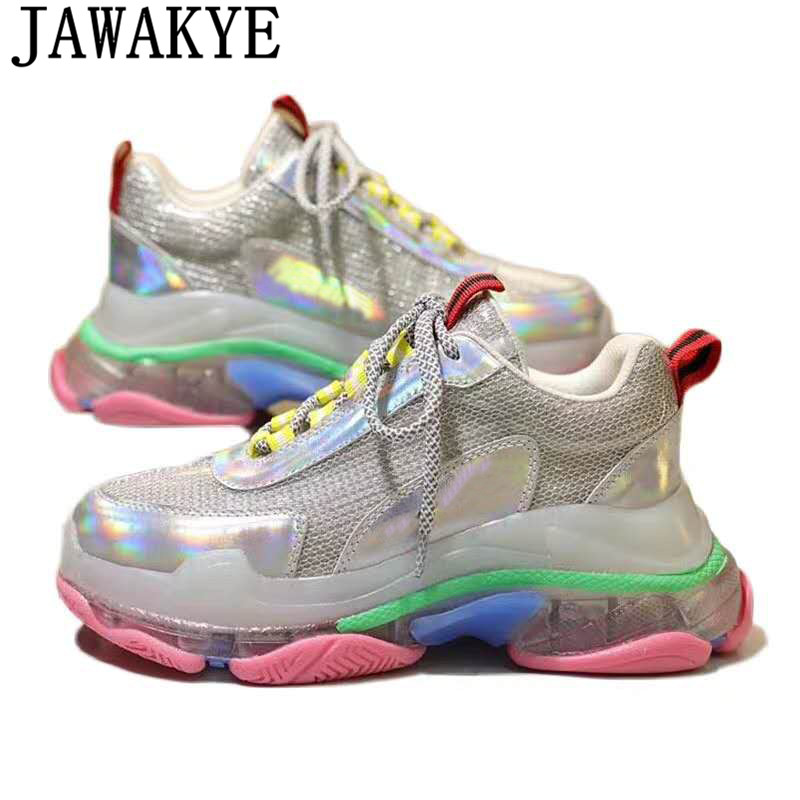 Clear Transparent flat heel casual shoes women genuine leather lace up platform sneakers colorful metal air mesh daddy shoesClear Transparent flat heel casual shoes women genuine leather lace up platform sneakers colorful metal air mesh daddy shoes