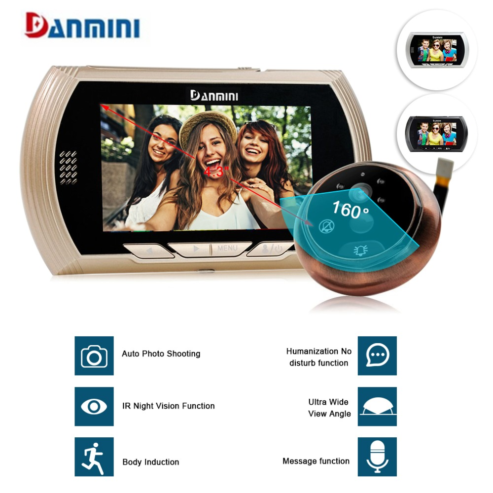 Danmini Hidden Electronic Cat Eye Camera Doorbell Video Peephole 4.3 Inch Screen Viewer ight Vision Motion Detection No Disturb danmini q5 2 4 wireless tft color screen display night vision camera video peephole camera visual doorbell no disturb viewer