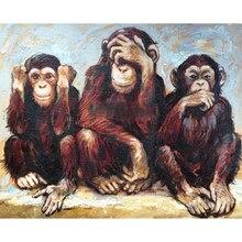 Nuova vendita calda diamante pittura tre scimmia piazza piena/diamante rotondo ricamo immagine di strass diamante mosaico Dropship