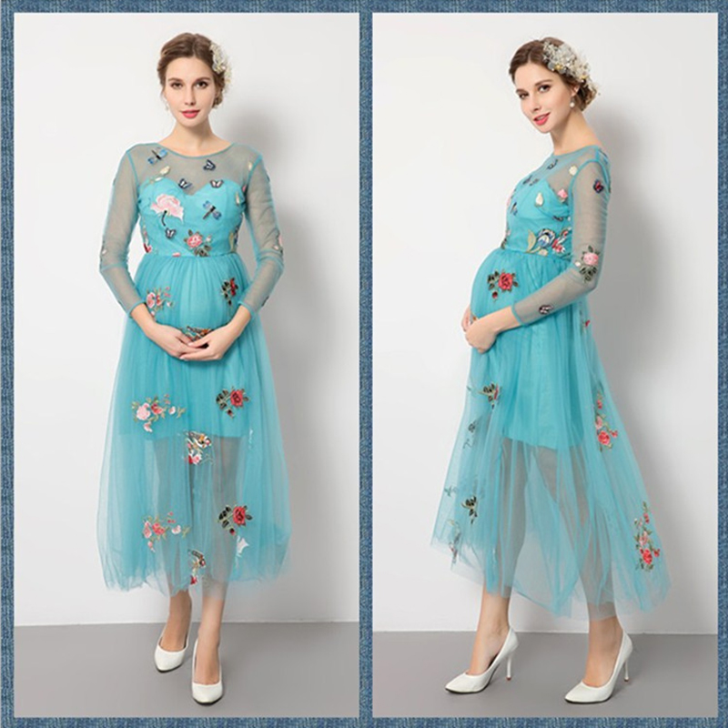 купить Maternity Dress 2017 Fashion Maternity Dress for Photo Shoot Three Quarter Dress Round neck Bohemian Style Party Dresses недорого