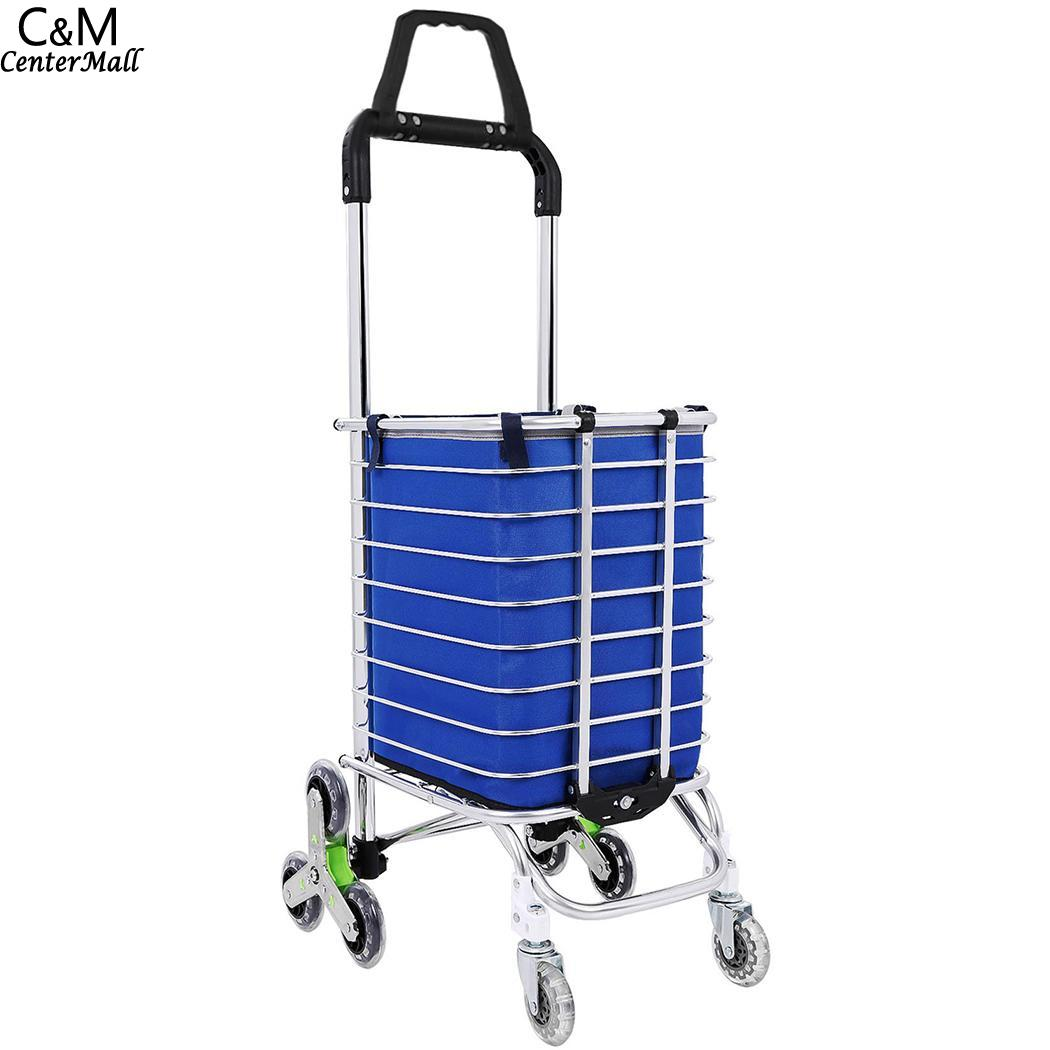 Aluminum Handle Oxford Wheels Folding 8 Bag Cloth Triangular Cart Shopping Double Stairs new folding portable shopping bag shopping buy food trolley bag on wheels bag on wheels buy vegetables shopping organizer bag