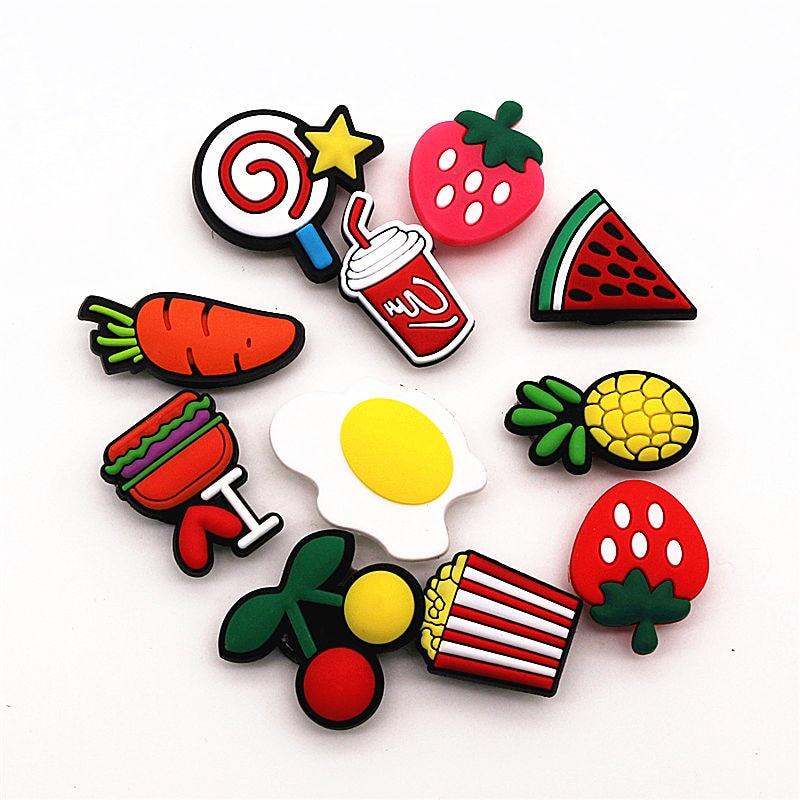 11Pcs/Set PVC Cartoon Shoe Decorations Candy Series Garden Shoe Croc Charm Accessories For JIBZ/ Wristbands Kids Party Xmas