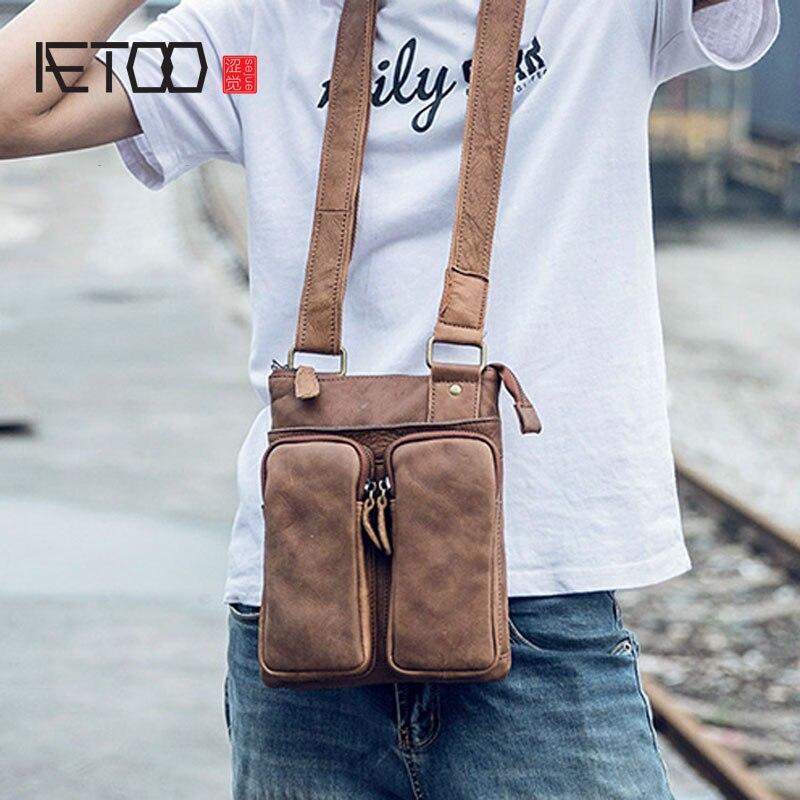 AETOO Casual leather men's bag youth crossbody business shoulder bag vertical section leather bag flat work bag цена