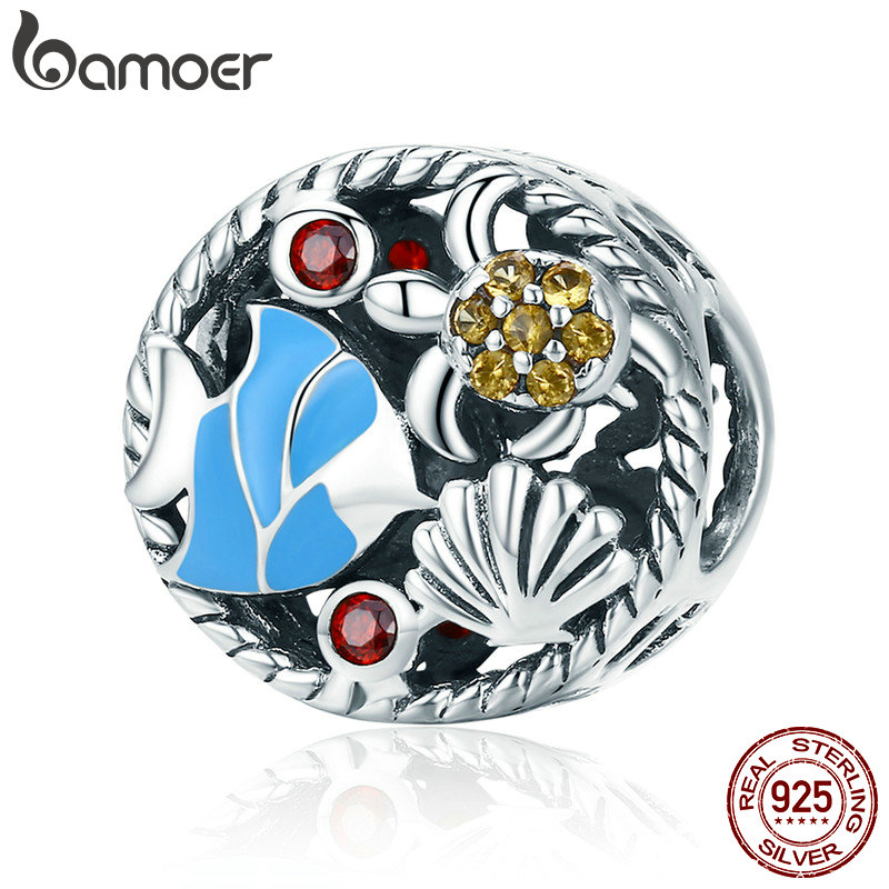 BAMOER Real 925 el mundo submarino peces tortuga encanto cupieron las pulseras y collares DIY joyería SCC683