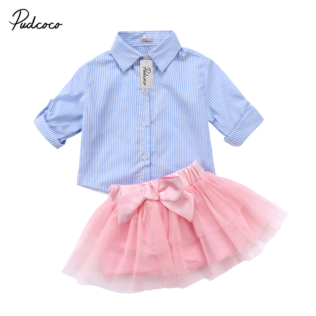 a2aaf0f50231 Summer Kids Baby Girl Princess Stripe Outfits Clothes Blue T-shirt Tops  Lace Bowknot Tutu Skirts Set 2pc Girls Clothing