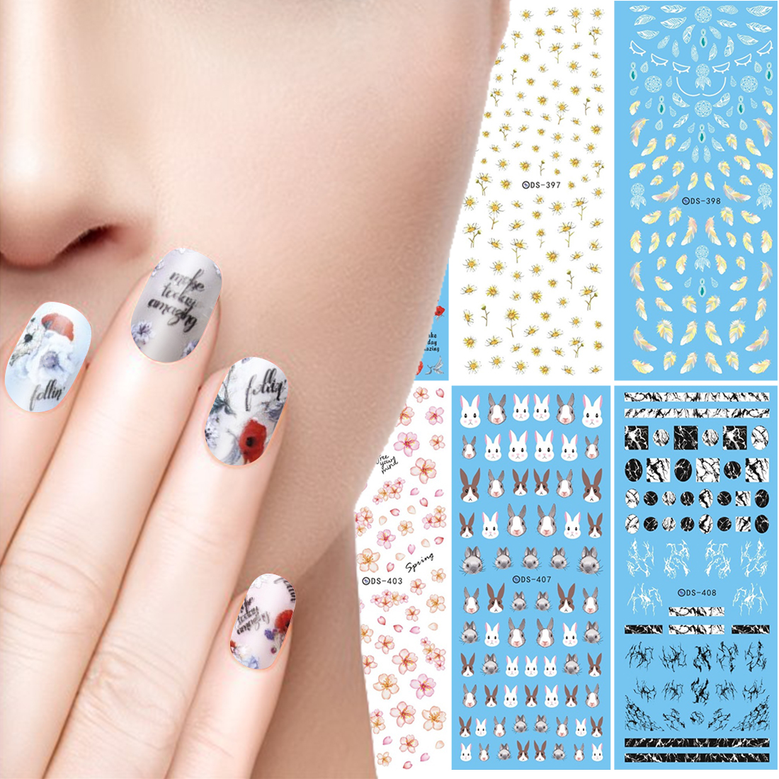 Easter Rabbit Bunny Nail Art Wraps Daisy Rose Flower Design Decals