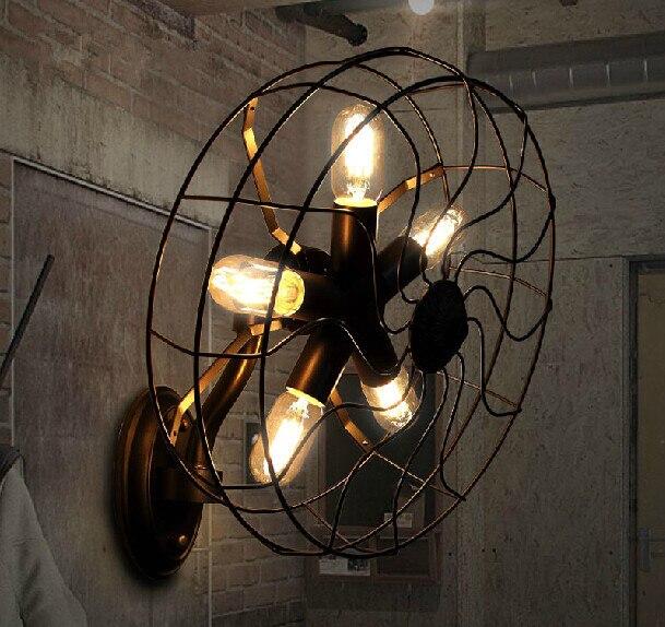 Креативный дизайн ретро гостиной спальни промышленный вентилятор формы настенный светильник, E27, AC: 220 В, 460*300 мм.