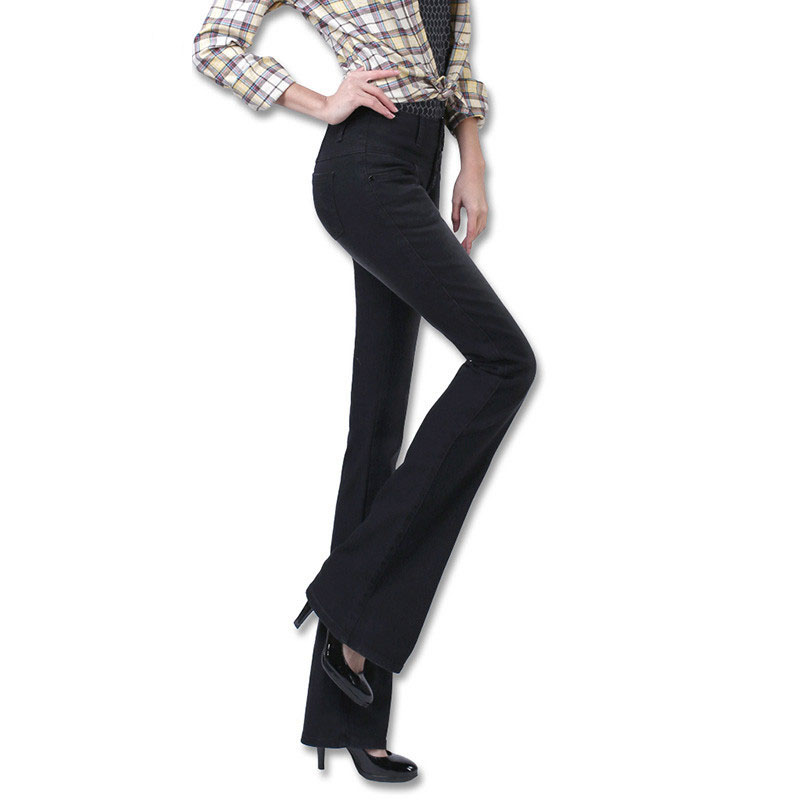 New Autumn High Waist Flare Jeans Pants Size 25-32 Stretch Skinny Jeans Women Wide Leg S ...