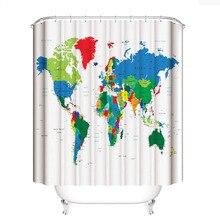 Creative Fabric Shower Curtain World Map Bathroom Waterproof Not Transparent Classic Designer Model Bath