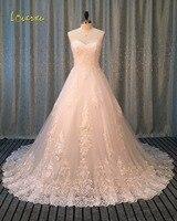 Loverxuロマンティックスウィートハートaラインレースのウェディングドレス2017アップリケ裁判所の列車ヴィンテージローブ·デ·結婚花嫁ドレスプラスサイズ