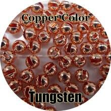 Cor de cobre, 100 contas de tungstênio, entalhado, voar amarrando, pesca