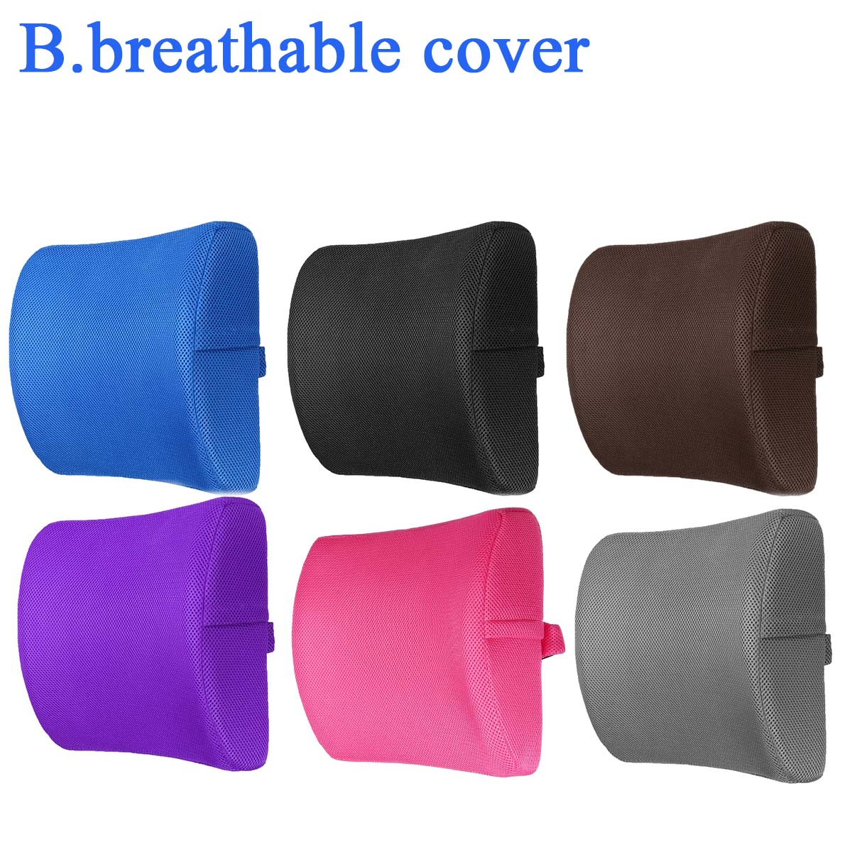 6 Color Lumbar Pillows Made Of Soft Foam For Car Seat To Support And Relieve Back Pain 12