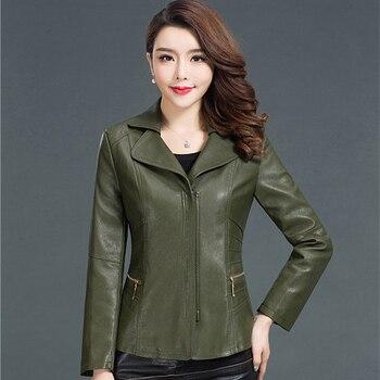 5328e7fca91 5XL 6XL Плюс Размеры кожаная куртка Для женщин осень искусственная кожа  замша Для женщин короткие мотоциклетные байкерские куртки