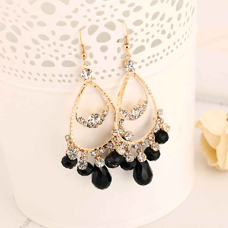 Factory production of foreign trade fashion jewelry droplets crystal girl sexy earrings sell gold plated earrings for women E003
