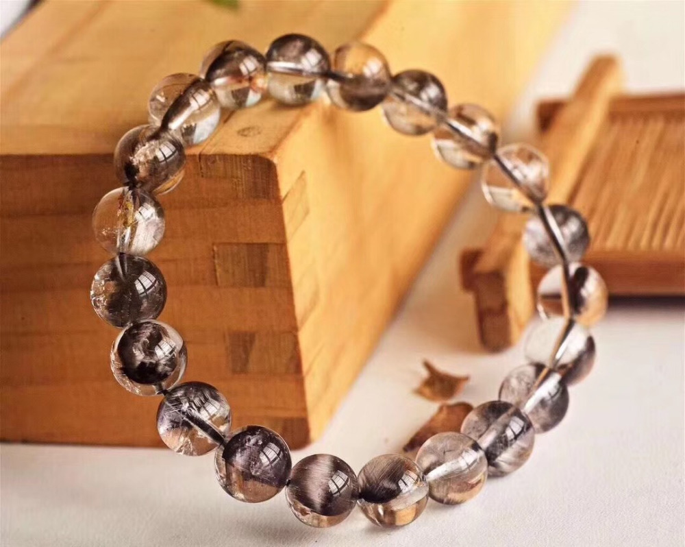 Natural Brookite Platinum Silver Rutilated Quartz Bracelet  (6)