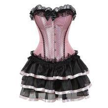 2beb4ecb8 Encaje Sexy corsés para mujeres plus tamaño traje de overbust corsé vestido  tutu corsé victoriano falda