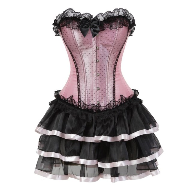 Sexy lace corsets for women plus size costume overbust vintage corset dress set tutu corselet victorian corset skirt Pink
